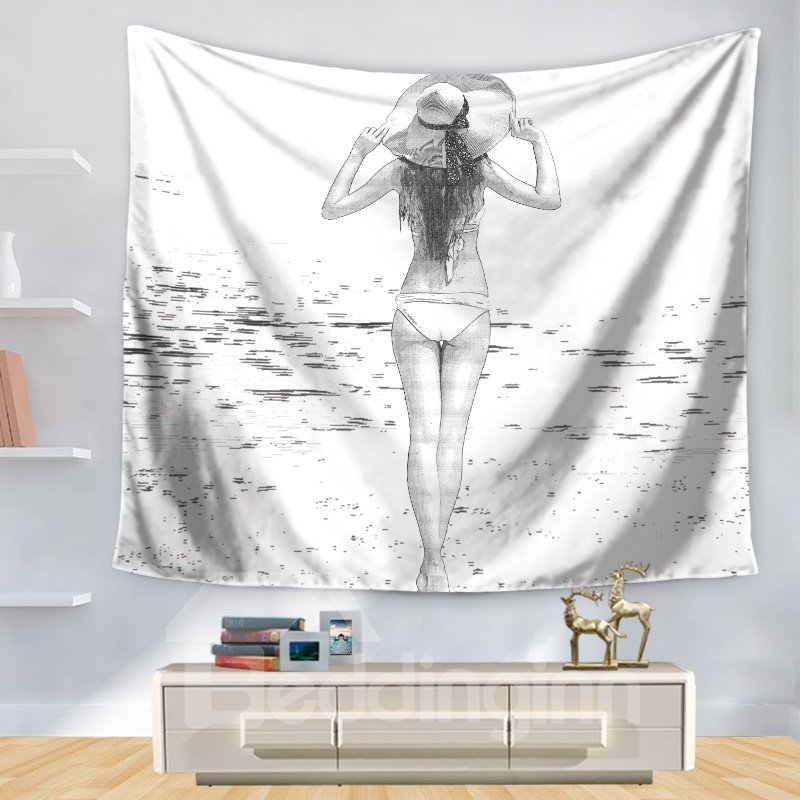 Stick Drawing Charming Maid with Hat Seaside Casual Decorative Hanging Wall Tapestry