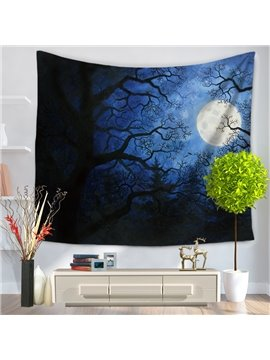 Dark Dawn at night Shadow of Trees Moon Pattern Decorative Hanging Wall Tapestry
