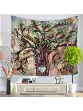 Oil Painting Tree of Life Nature Love Heart Pattern Decorative Hanging Wall Tapestry