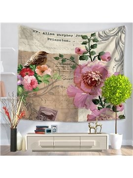 Beautiful Flowers with Bird Postcard Style Decorative Hanging Wall Tapestry