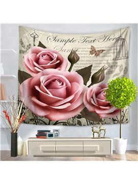Pink Fascinating Roses with Butterfly Pattern Decorative Hanging Wall Tapestry