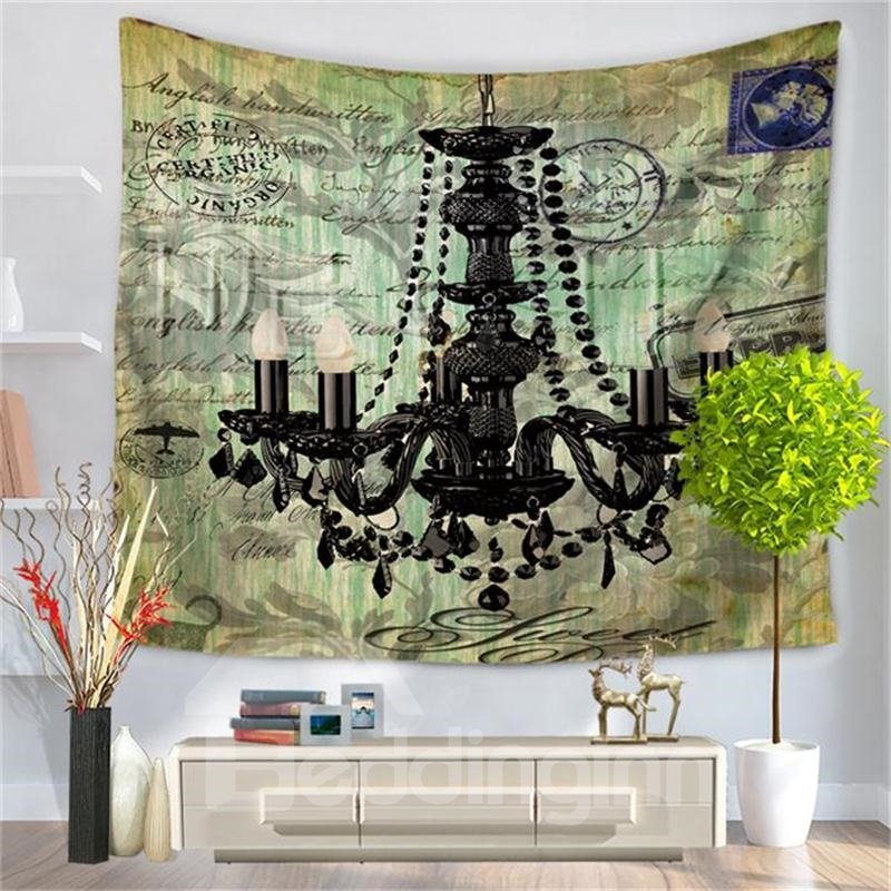 Shining Crystal Lamp Postcard Style Decorative Hanging Wall Tapestry