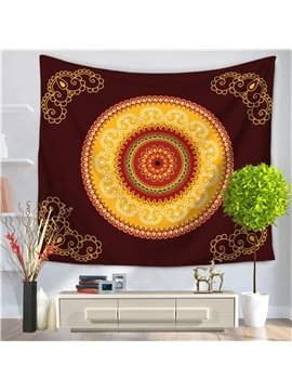 Wine Red and Yellow Mandala Indian Pattern Ethnic Style Decorative Hanging Wall Tapestry