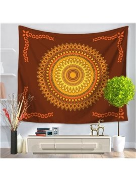 Yellow Hippy Mandala Indian Pattern Ethnic Style Decorative Hanging Wall Tapestry