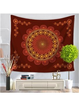 Red Wine Circle Hippy Mandala Indian Pattern Ethnic Style Decorative Hanging Wall Tapestry