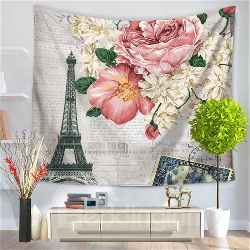 Paris Eiffel Tower with Pink Flower Postcard Style Decorative Hanging Wall Tapestry