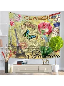 Classic Paris Eiffel Tower with Butterfly and Flower Postcard Style Decorative Hanging Wall Tapestry