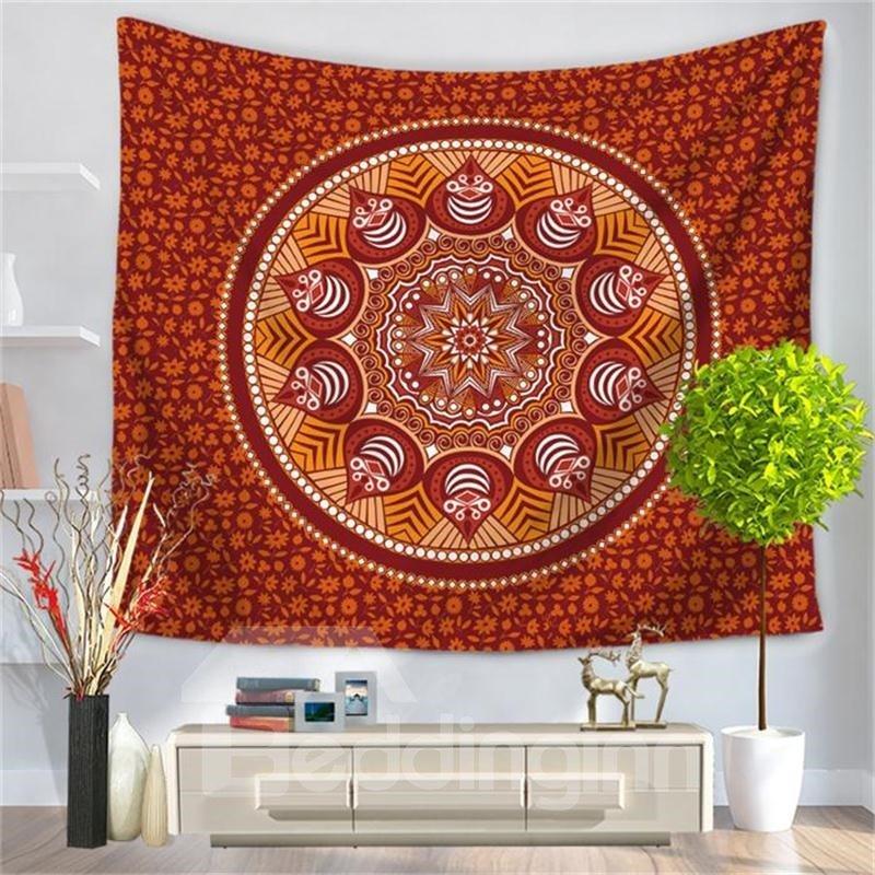 Dark Red Mandala Pattern Ethnic Style Decorative Hanging Wall Tapestry