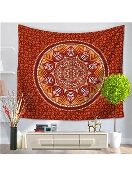 Dark Red Mandala Pattern Ethnic Style Decorative Hanging Wall Tapestry