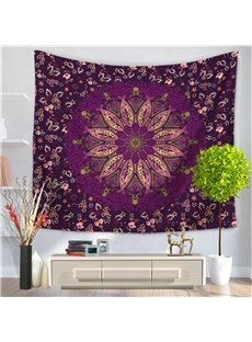 Purple Floral Abstract Fish Mandala Pattern Ethnic Style Decorative Hanging Wall Tapestry