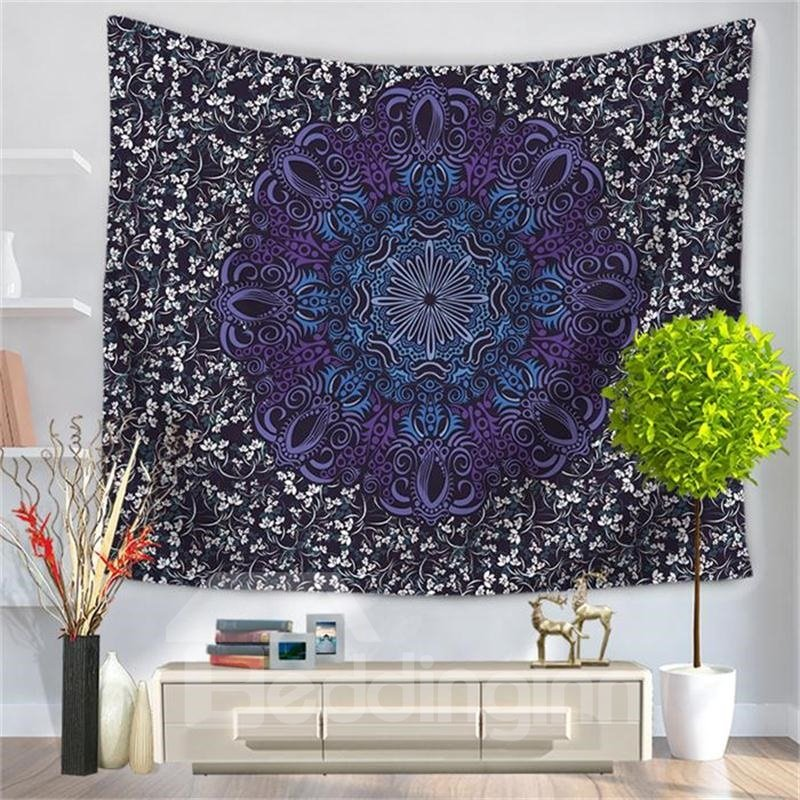 Purple and Blue Floral Circle Mandala Pattern Ethnic Style Decorative Hanging Wall Tapestry