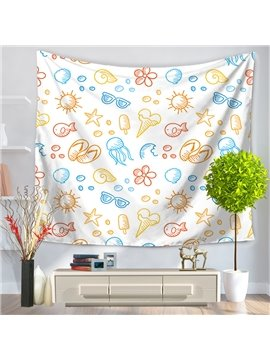 Sunglasses Jellyfish Ice-cream Summer Holiday Pattern Decorative Hanging Wall Tapestry