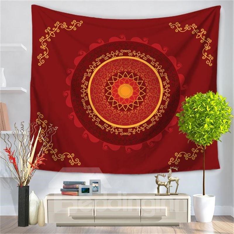 Red Hippy Samsara Mandala Bohemian Indian Pattern Ethnic Style Decorative Hanging Wall Tapestry