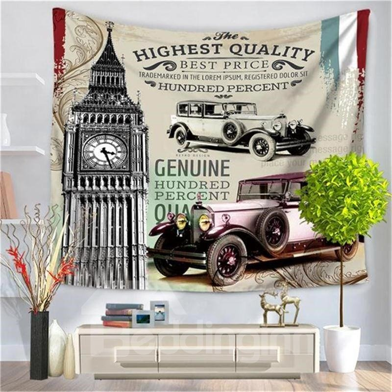 London Tower Vintage Cars Letters Pattern Decorative Hanging Wall Tapestry