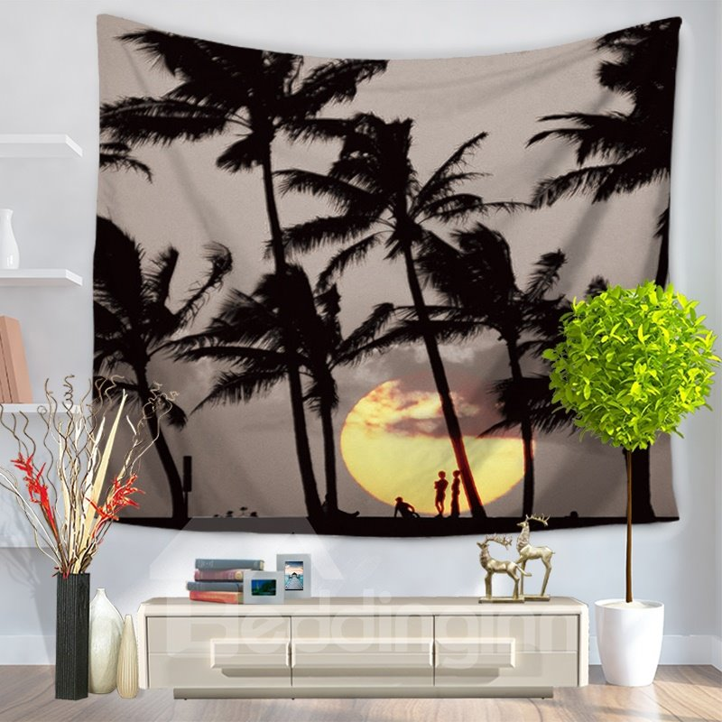 People under Palm Trees at Sunset Pattern Decorative Hanging Wall Tapestry