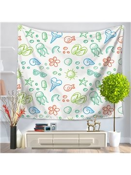 Jellyfish Conch Ice-cream Sea Holiday Casual Style Decorative Hanging Wall Tapestry