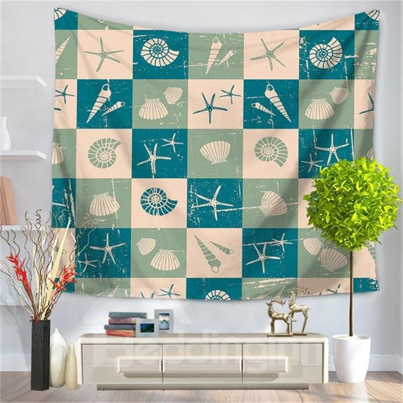 Sea Shell Starfish Conch Holiday Pattern Decorative Hanging Wall Tapestry