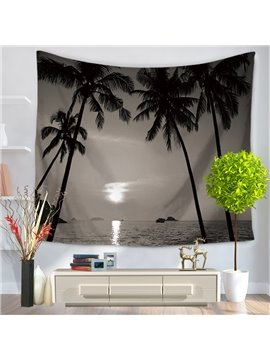 Dark Color Seaside Palm Trees Holiday Decorative Hanging Wall Tapestry