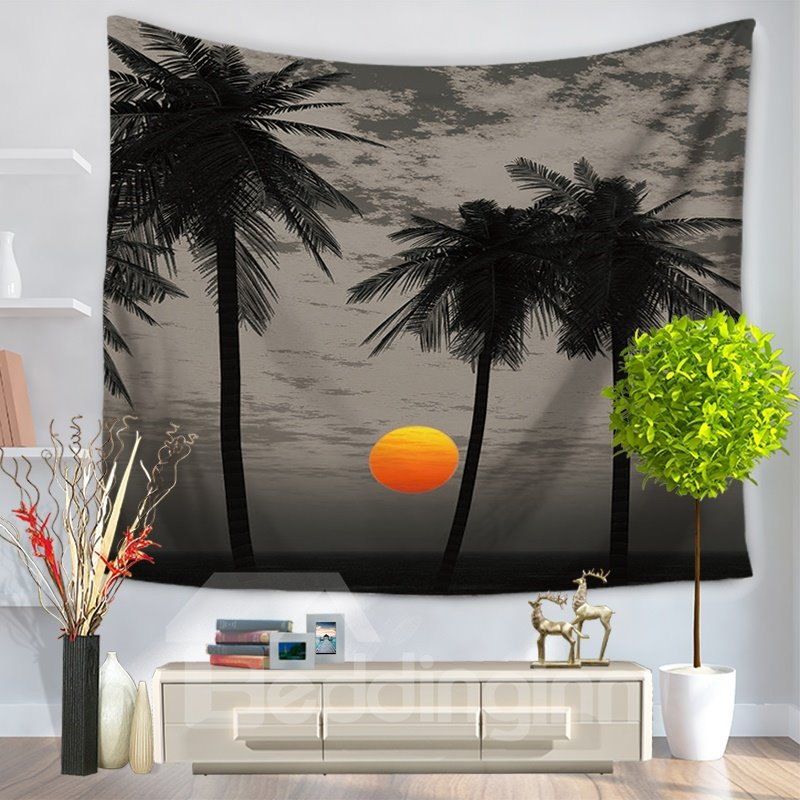 Beautiful Sunset Seaside Palm Trees Holiday Decorative Hanging Wall Tapestry