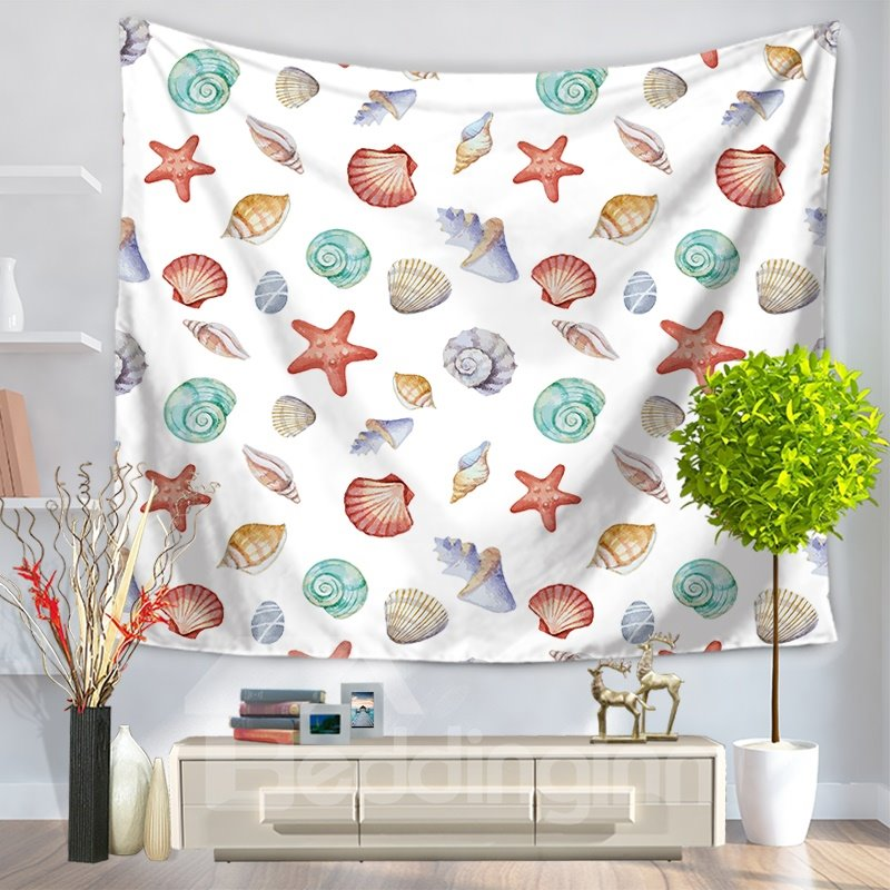 Color Starfish Shell Conch Marine Pattern Decorative Hanging Wall Tapestry