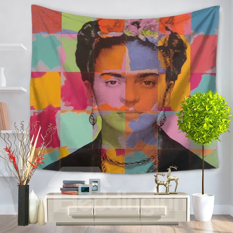 Colorful Grid with Frida Kahlo Self-portrait Decorative Hanging Wall Tapestry