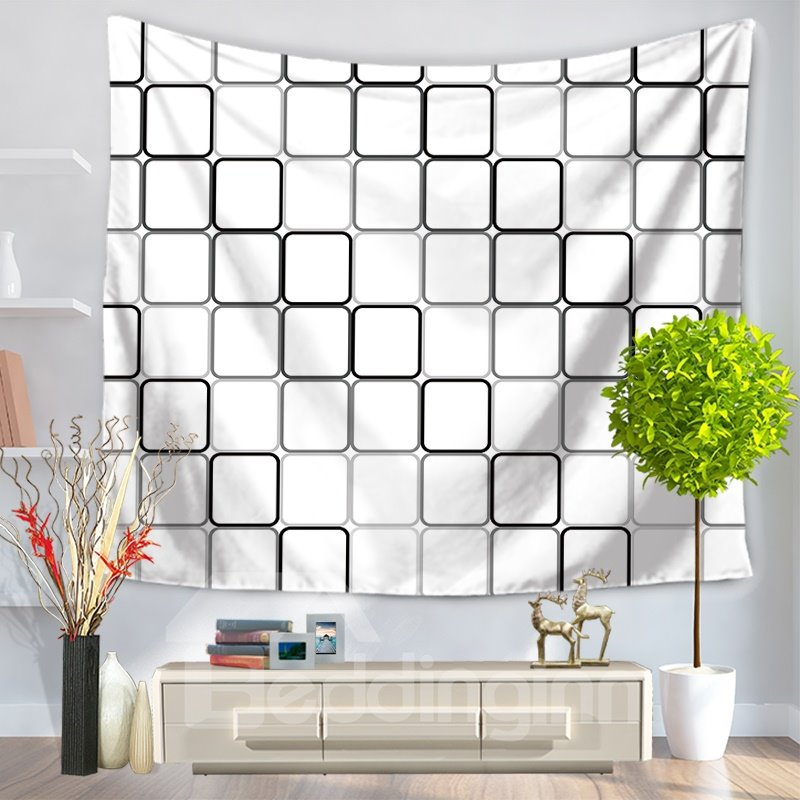 White Pixelization Grid Pattern Decorative Hanging Wall Tapestry