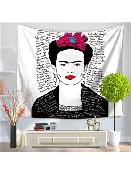 Frida Kahlo Self-portrait with Red Lips Letters Latin Style Decorative Hanging Wall Tapestry