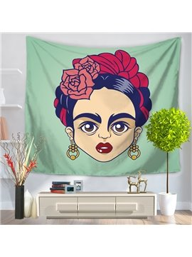 Cartoon Cute Artwork Frida Kahlo Mexico Latin Style Decorative Hanging Wall Tapestry