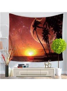 Beautiful Nature Sunset Universe Ocean Birds Pattern Decorative Hanging Wall Tapestry
