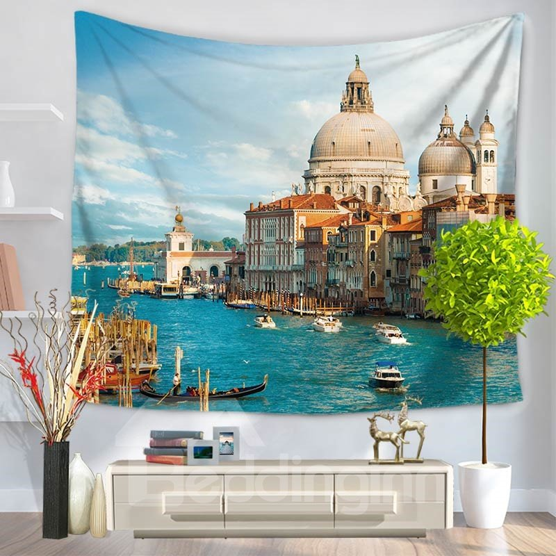 European Boats Seaside Casual Pattern Decorative Hanging Wall Tapestry