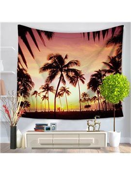 Peaceful Sunset Sunlight Sea Scenery with Palm Trees Pattern Decorative Hanging Wall Tapestry