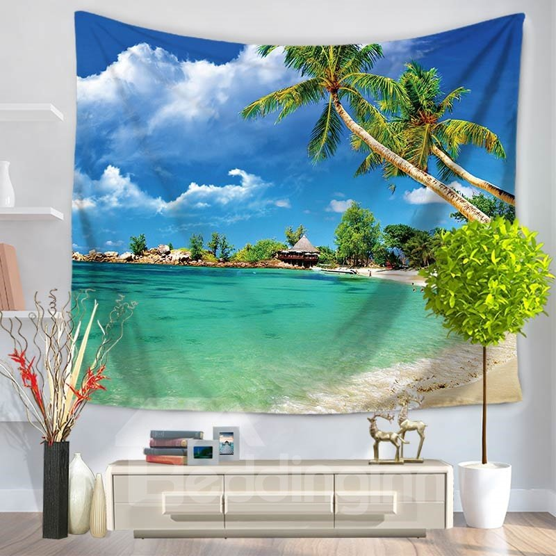 Blue Sky Seaside Ocean Palm Trees Holiday Pattern Decorative Hanging Wall Tapestry