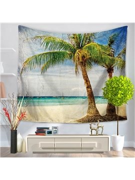 Sea Scenery Palm Trees Exotic Holiday Pattern Decorative Hanging Wall Tapestry