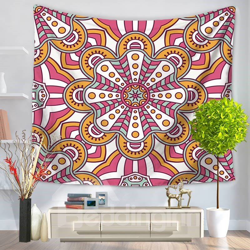 Floral Abstract Mandala Bohemian Ethnic Style Decorative Hanging Wall Tapestry