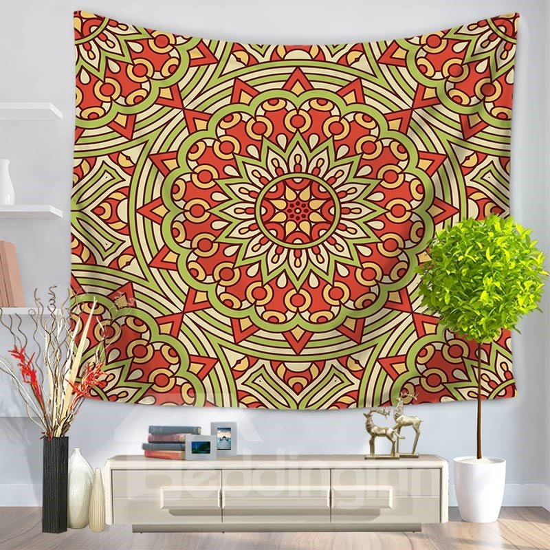 Red Circle Mandala Pattern Ethnic Style Decorative Hanging Wall Tapestry
