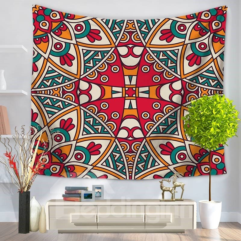 Abstract Square Hippy Mandala Pattern Ethnic Style Decorative Hanging Wall Tapestry