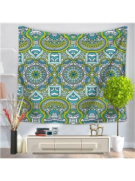 Green and Blue Abstract Hippy Mandala Indian Pattern Ethnic Style Decorative Hanging Wall Tapestry