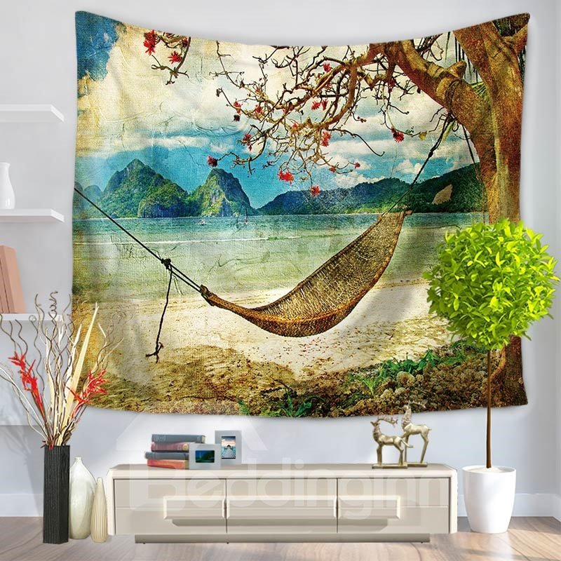 Comfortable Hammock Seaside Holiday Casual Style Decorative Hanging Wall Tapestry