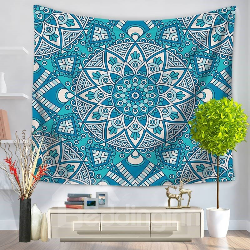 Blue Floral Mandala Pattern Ethnic Style Decorative Hanging Wall Tapestry