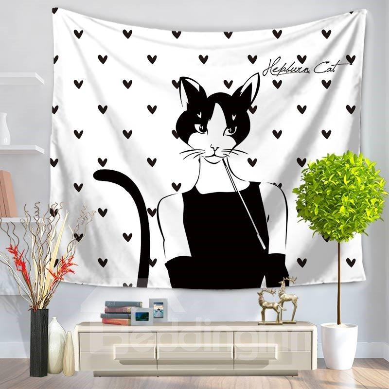 Cat Audrey Hepburn Black Dress Heart Pattern Decorative Hanging Wall Tapestry