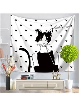 Cat Audrey Hepburn Black Dress Heart Pattern Decorative Hanging Wall Tapestry