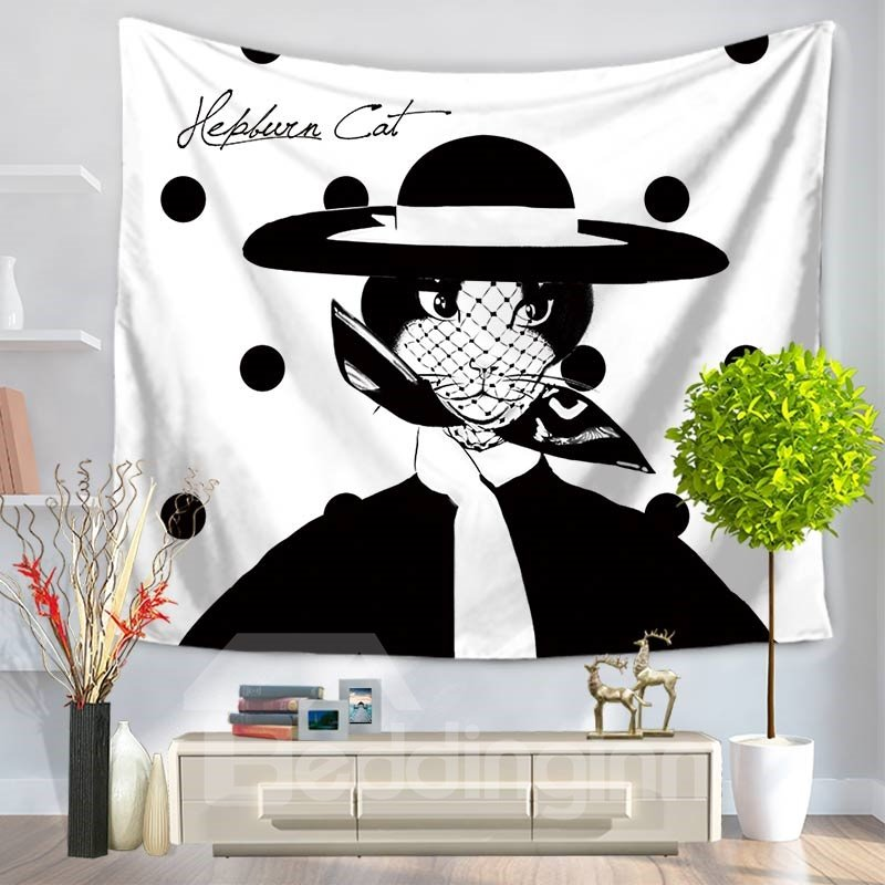Elegant Audrey Hepburn Cat with Hat Pattern Decorative Hanging Wall Tapestry