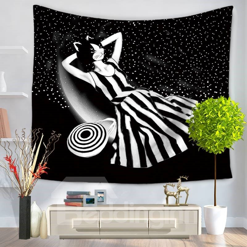 Elegant Kitty Cat Lady Lying on Milky Way Pattern Decorative Hanging Wall Tapestry