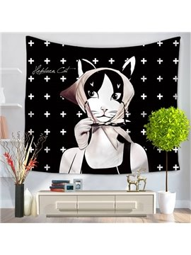 Audrey Hepburn Kitty Cat with Kerchief Pattern Decorative Hanging Wall Tapestry