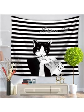 Audrey Hepburn Cat with Black and White Stripes Decorative Hanging Wall Tapestry