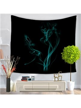 Plume of Blue Smoke with Black Bottom Color Decorative Hanging Wall Tapestry