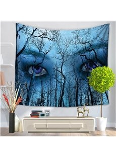 Blue Mysterious Eyes Psychedelic Forest Pattern Decorative Hanging Wall Tapestry