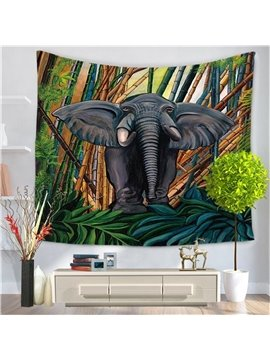Majestic Oriental Elephant Rain Forest Pattern Decorative Hanging Wall Tapestry
