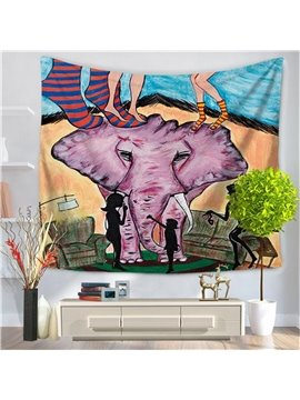 Abstract Cartoon Elephant People Legs Pattern Decorative Hanging Wall Tapestry
