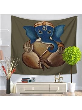Majestic Indian Elephant Blue face Pattern Decorative Hanging Wall Tapestry